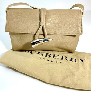 Burberry Taupe Leather Haymarket